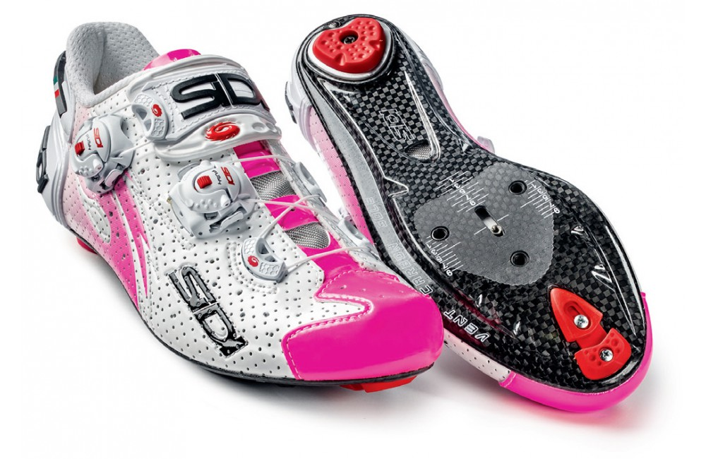 SIDI chaussures route femme Wire Air Carbone blanc rose fluo 2016